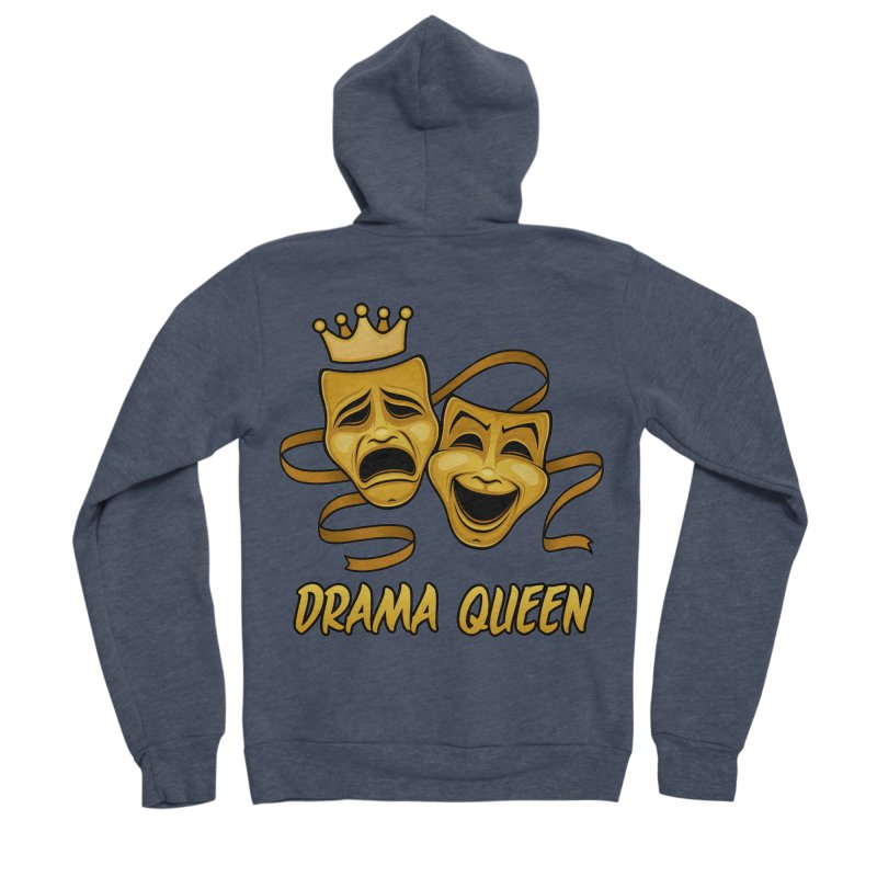 Drama Queen Comedy And Tragedy Gold Theater Masks Men's Sponge Fleece Zip-Up Hoody by Fizzgig's Artist Shop