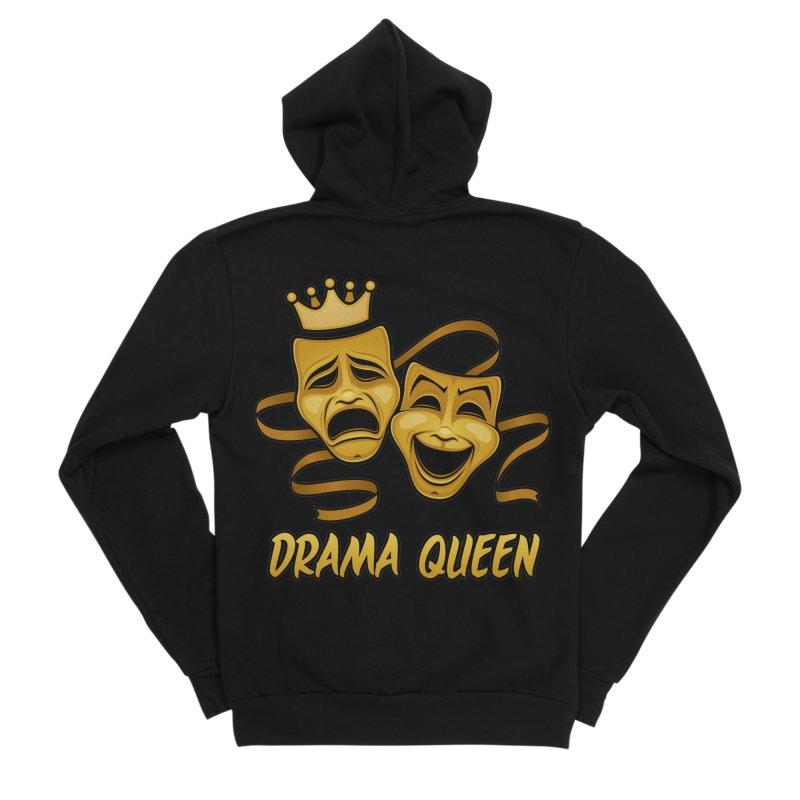 Drama Queen Comedy And Tragedy Gold Theater Masks Women's Sponge Fleece Zip-Up Hoody by Fizzgig's Artist Shop