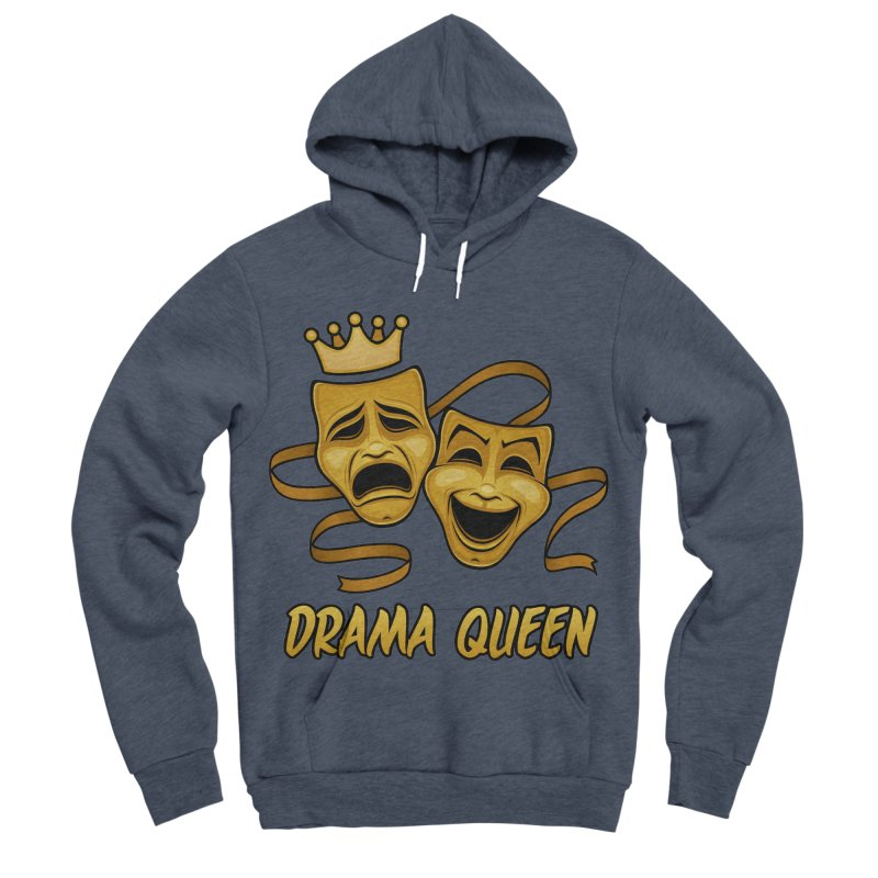 Drama Queen Comedy And Tragedy Gold Theater Masks Men's Sponge Fleece Pullover Hoody by Fizzgig's Artist Shop