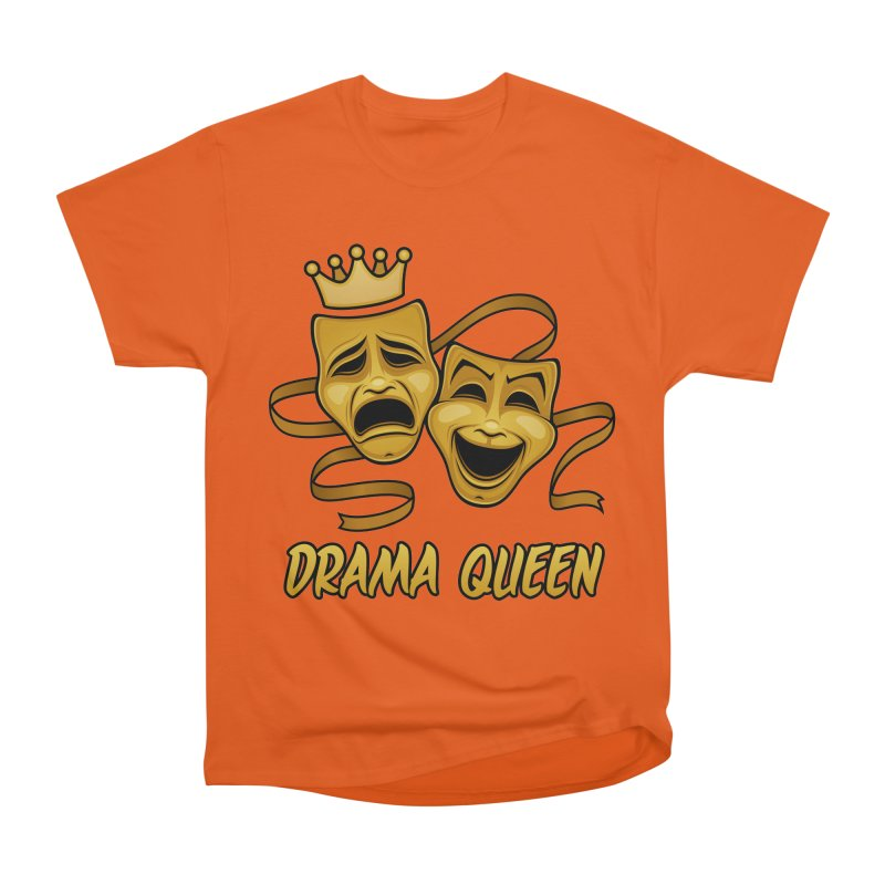 Drama Queen Comedy And Tragedy Gold Theater Masks Women's Heavyweight Unisex T-Shirt by Fizzgig's Artist Shop
