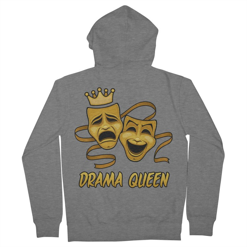 Drama Queen Comedy And Tragedy Gold Theater Masks Men's French Terry Zip-Up Hoody by Fizzgig's Artist Shop