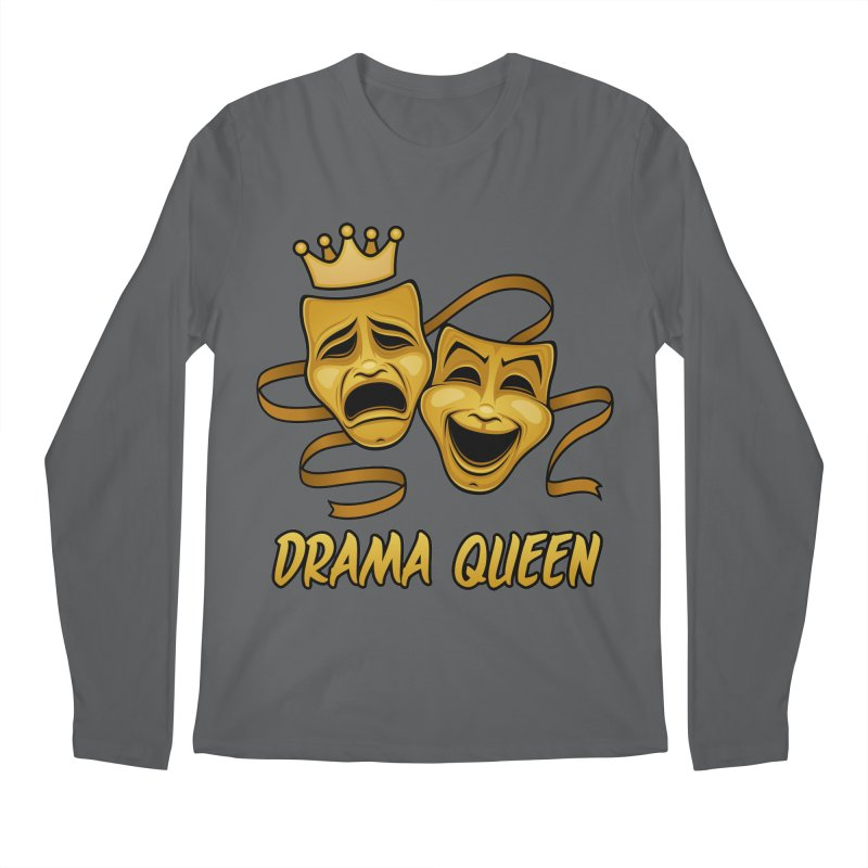 Drama Queen Comedy And Tragedy Gold Theater Masks Men's Regular Longsleeve T-Shirt by Fizzgig's Artist Shop