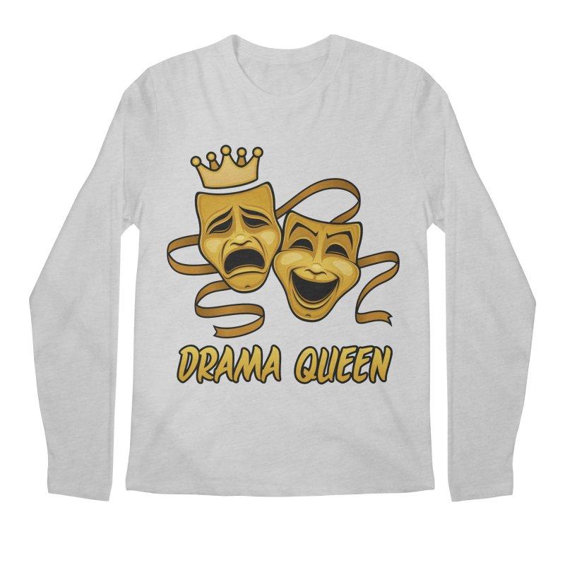 Drama Queen Comedy And Tragedy Gold Theater Masks Men's Regular Longsleeve T-Shirt by Fizzgig's Artist Shop