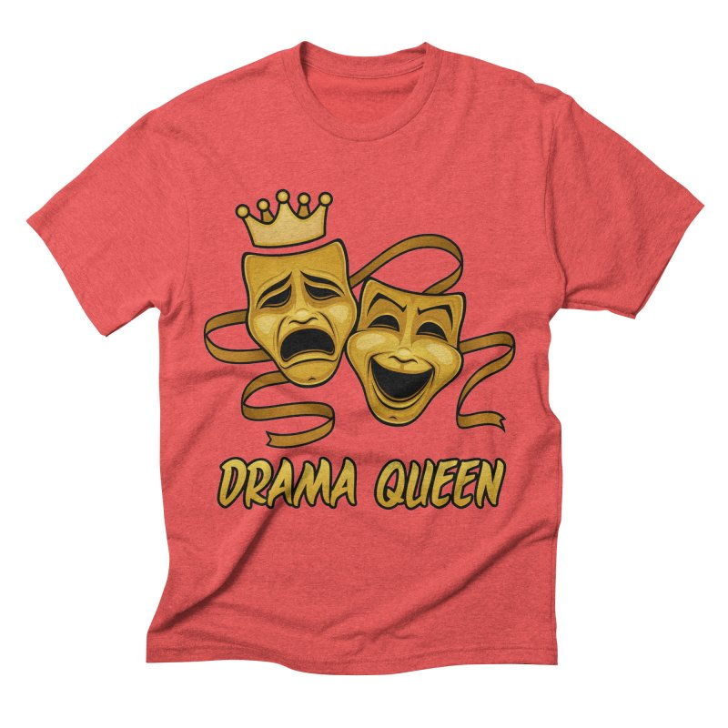 Drama Queen Comedy And Tragedy Gold Theater Masks Men's Triblend T-Shirt by Fizzgig's Artist Shop