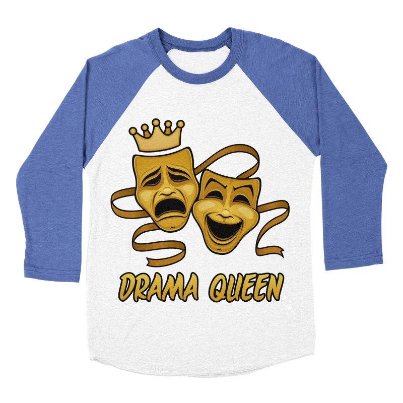 Drama Queen Comedy And Tragedy Gold Theater Masks Women's Baseball Triblend Longsleeve T-Shirt by Fizzgig's Artist Shop