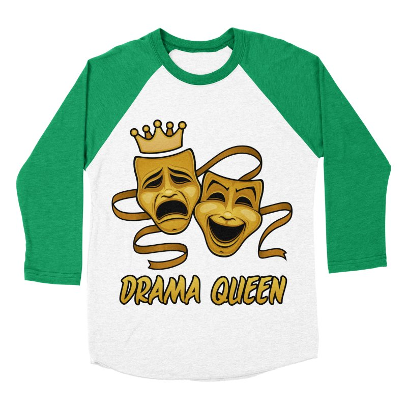Drama Queen Comedy And Tragedy Gold Theater Masks Women's Baseball Triblend Longsleeve T-Shirt by Fizzgig's Artist Shop