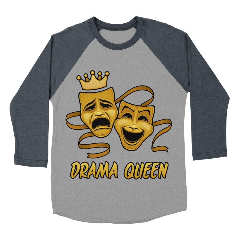 Drama Queen Comedy And Tragedy Gold Theater Masks Men's Baseball Triblend Longsleeve T-Shirt by Fizzgig's Artist Shop