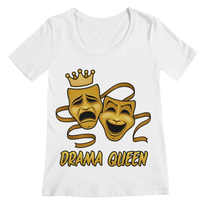 Drama Queen Comedy And Tragedy Gold Theater Masks Women's Regular Scoop Neck by Fizzgig's Artist Shop