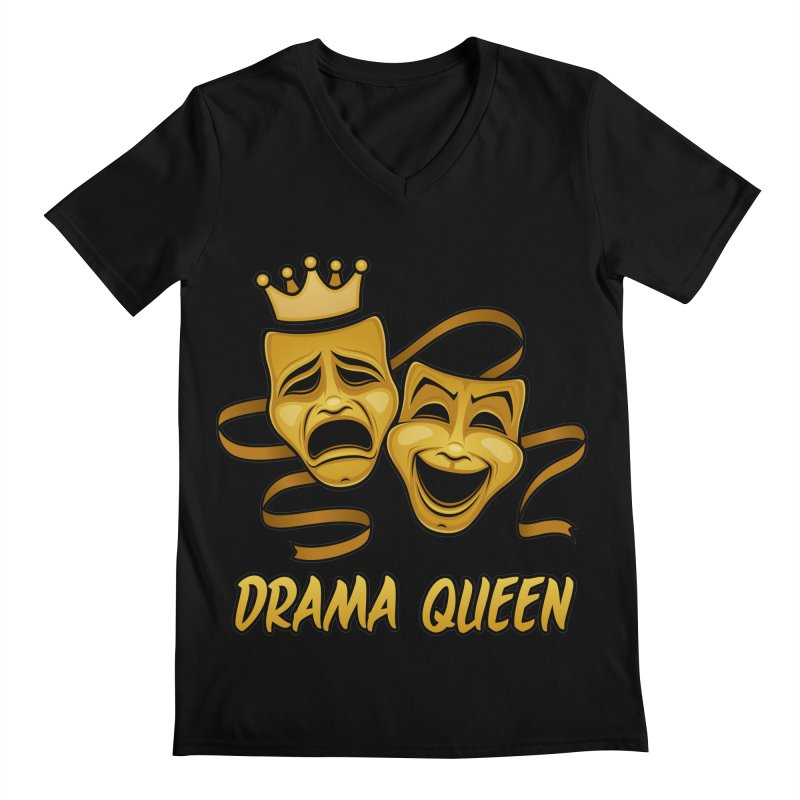 Drama Queen Comedy And Tragedy Gold Theater Masks Men's Regular V-Neck by Fizzgig's Artist Shop