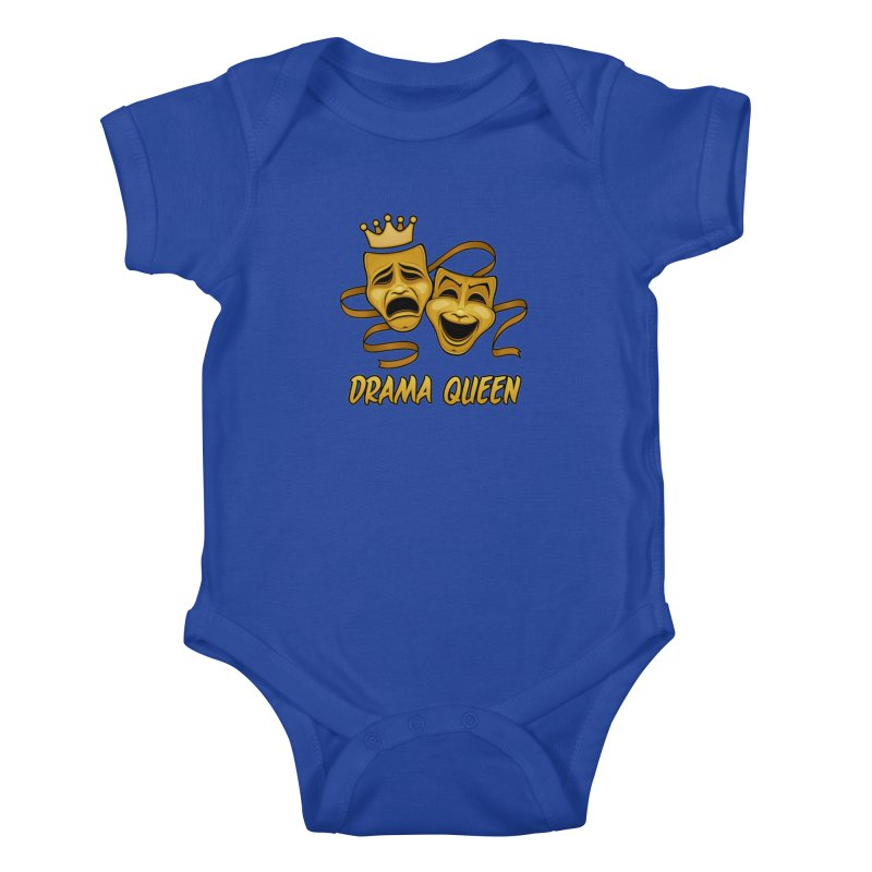 Drama Queen Comedy And Tragedy Gold Theater Masks Kids Baby Bodysuit by Fizzgig's Artist Shop