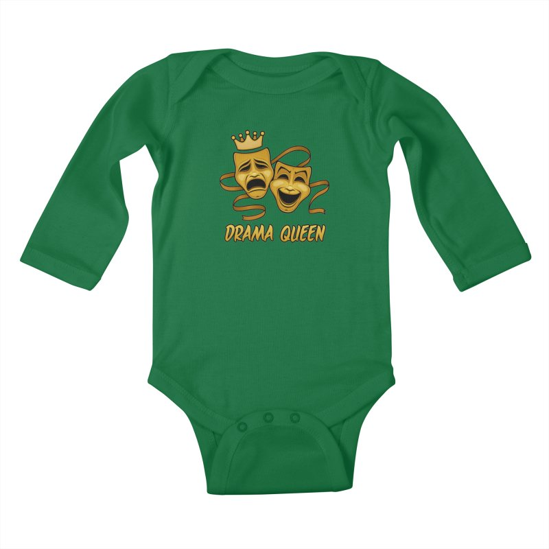 Drama Queen Comedy And Tragedy Gold Theater Masks Kids Baby Longsleeve Bodysuit by Fizzgig's Artist Shop