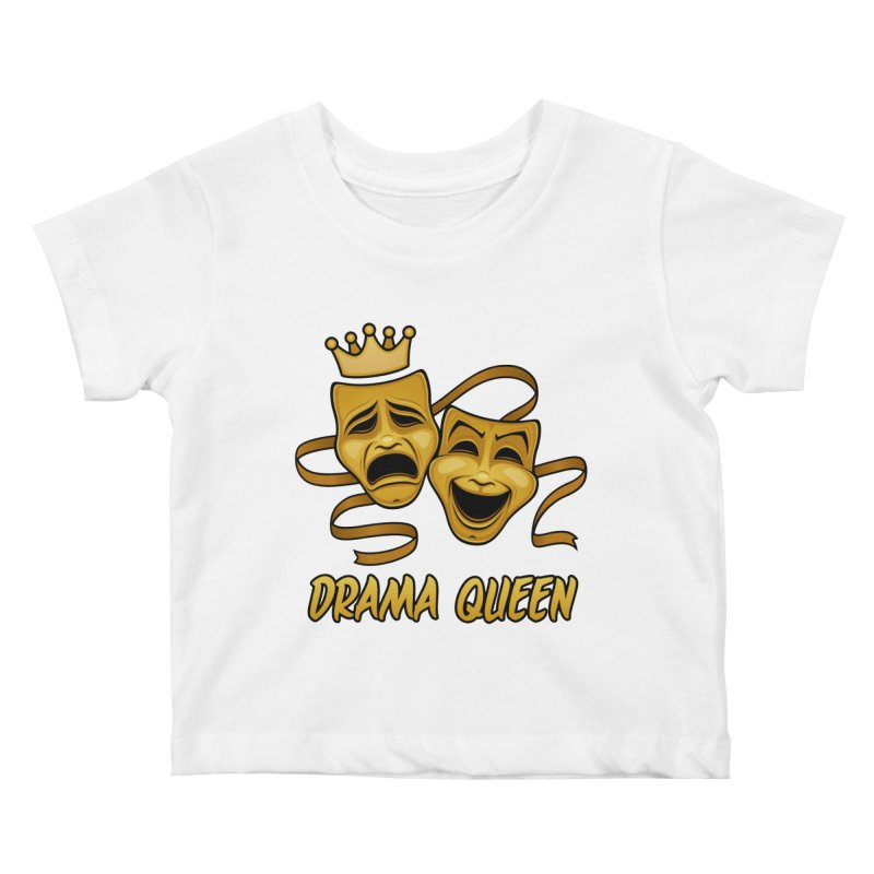Drama Queen Comedy And Tragedy Gold Theater Masks Kids Baby T-Shirt by Fizzgig's Artist Shop