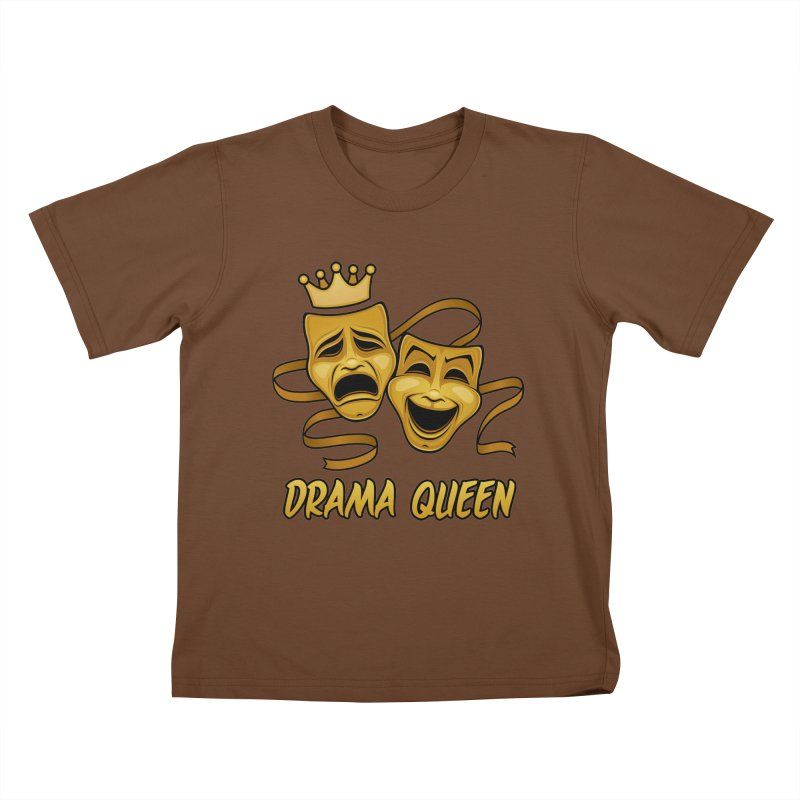 Drama Queen Comedy And Tragedy Gold Theater Masks Kids T-Shirt by Fizzgig's Artist Shop