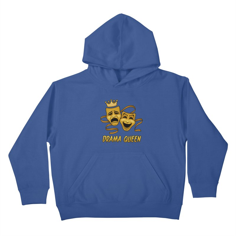 Drama Queen Comedy And Tragedy Gold Theater Masks Kids Pullover Hoody by Fizzgig's Artist Shop