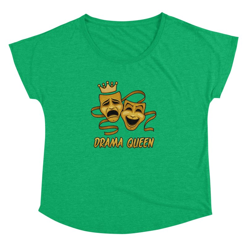 Drama Queen Comedy And Tragedy Gold Theater Masks Women's Dolman Scoop Neck by Fizzgig's Artist Shop