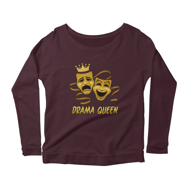 Drama Queen Comedy And Tragedy Gold Theater Masks Women's Scoop Neck Longsleeve T-Shirt by Fizzgig's Artist Shop