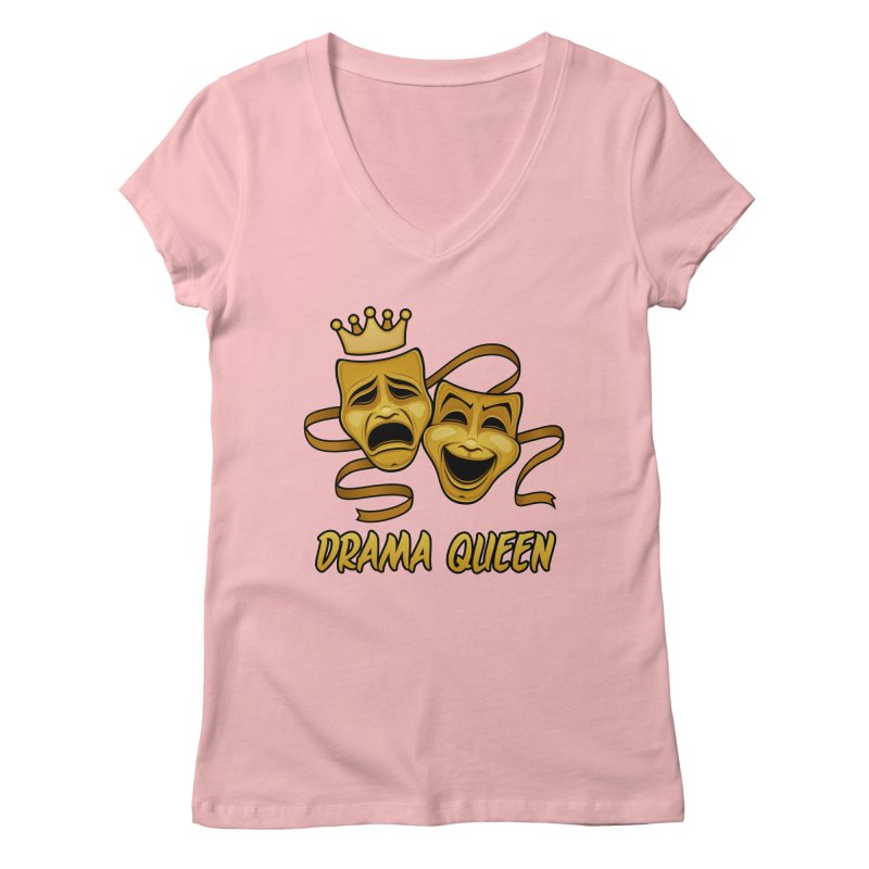 Drama Queen Comedy And Tragedy Gold Theater Masks Women's Regular V-Neck by Fizzgig's Artist Shop