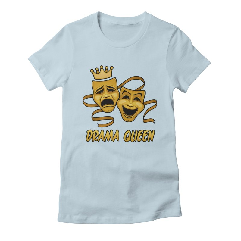 Drama Queen Comedy And Tragedy Gold Theater Masks Women's Fitted T-Shirt by Fizzgig's Artist Shop
