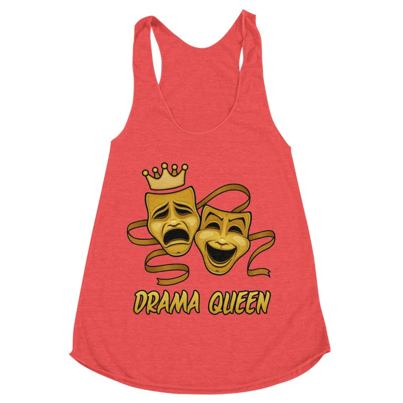 Drama Queen Comedy And Tragedy Gold Theater Masks Women's Racerback Triblend Tank by Fizzgig's Artist Shop