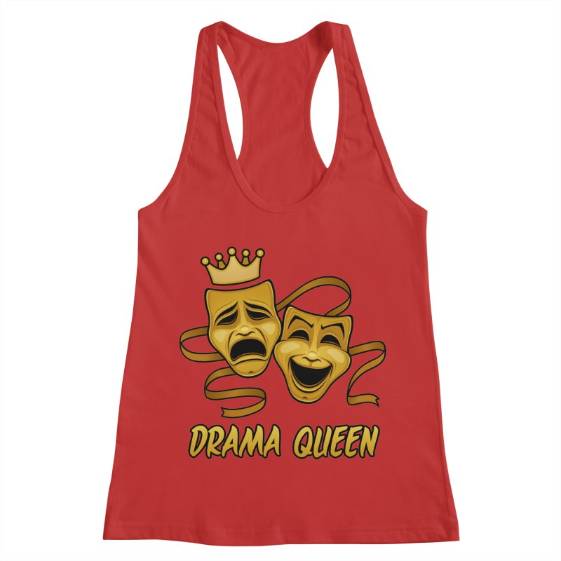 Drama Queen Comedy And Tragedy Gold Theater Masks Women's Racerback Tank by Fizzgig's Artist Shop