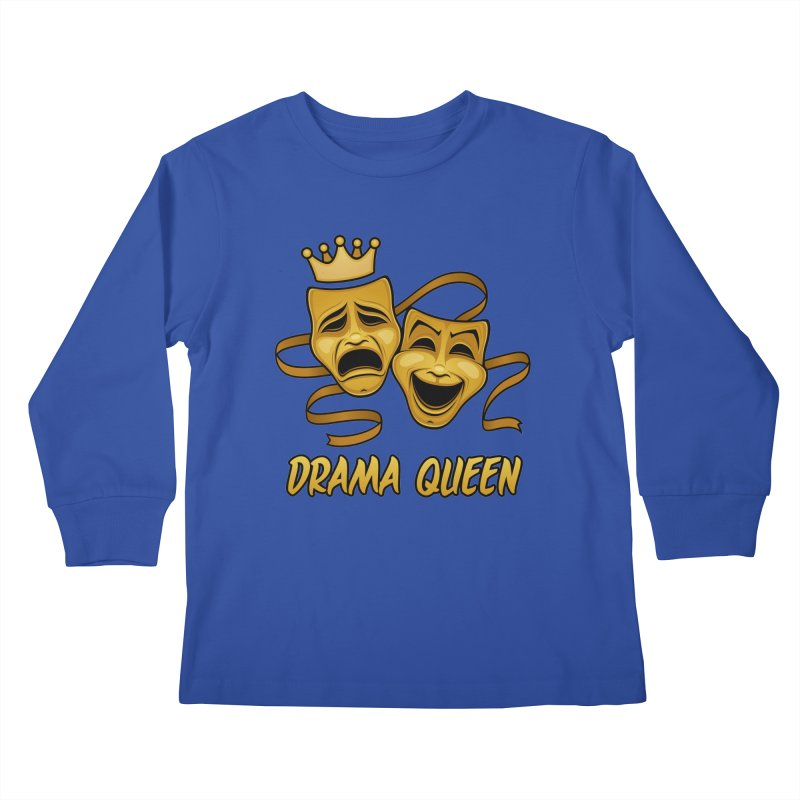 Drama Queen Comedy And Tragedy Gold Theater Masks Kids Longsleeve T-Shirt by Fizzgig's Artist Shop