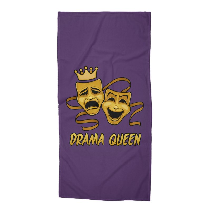 Drama Queen Comedy And Tragedy Gold Theater Masks Accessories Beach Towel by Fizzgig's Artist Shop