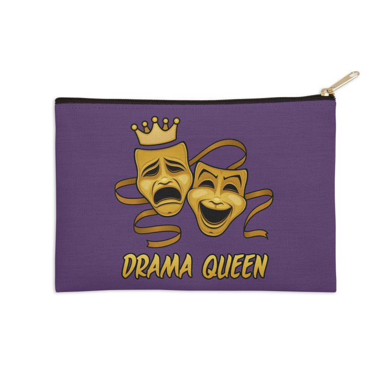 Drama Queen Comedy And Tragedy Gold Theater Masks Accessories Zip Pouch by Fizzgig's Artist Shop