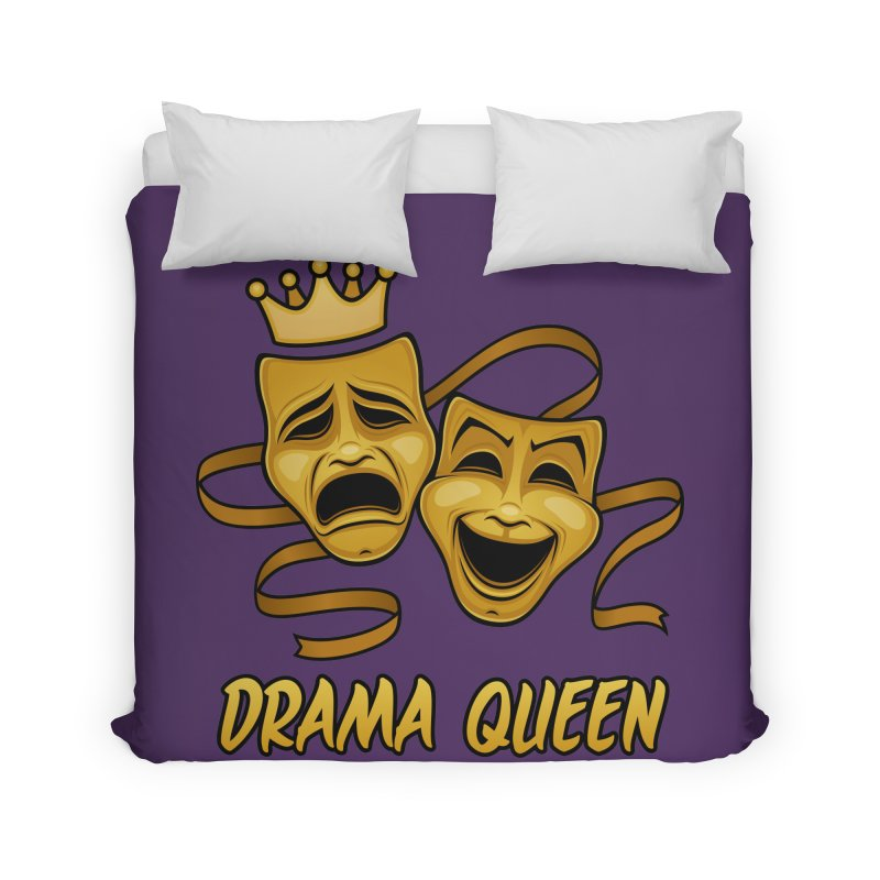 Drama Queen Comedy And Tragedy Gold Theater Masks Home Duvet by Fizzgig's Artist Shop