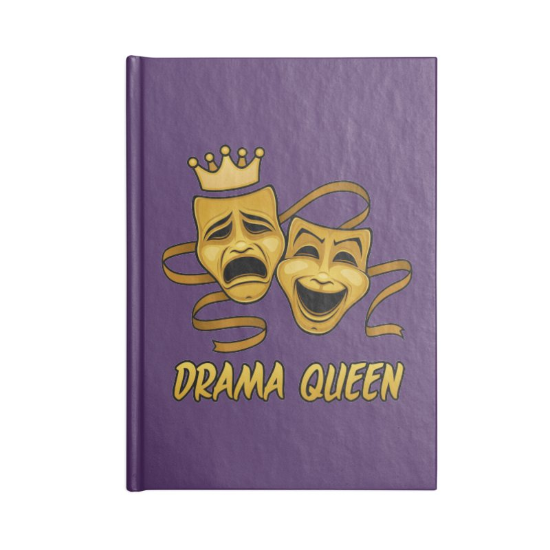 Drama Queen Comedy And Tragedy Gold Theater Masks Accessories Blank Journal Notebook by Fizzgig's Artist Shop
