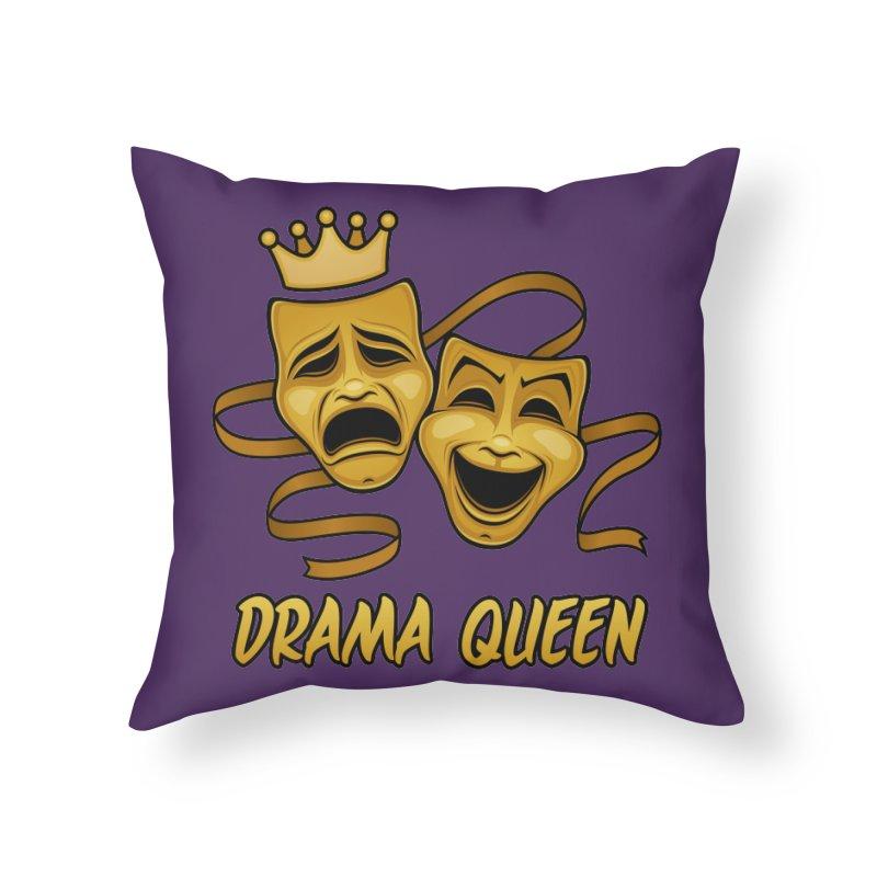 Drama Queen Comedy And Tragedy Gold Theater Masks Home Throw Pillow by Fizzgig's Artist Shop