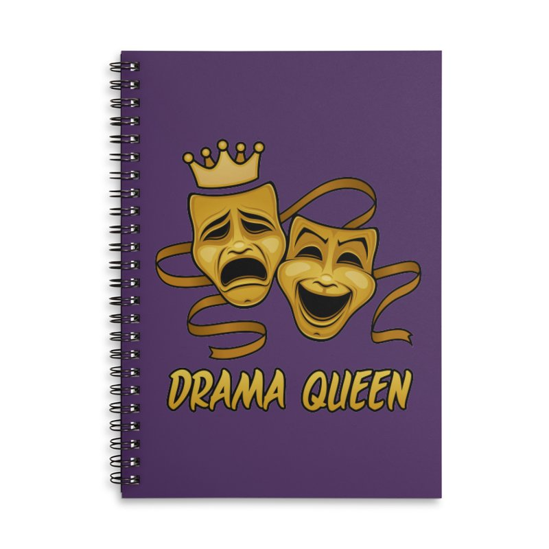 Drama Queen Comedy And Tragedy Gold Theater Masks Accessories Lined Spiral Notebook by Fizzgig's Artist Shop