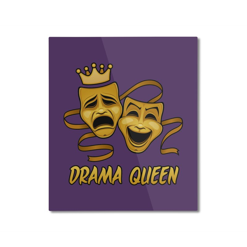 Drama Queen Comedy And Tragedy Gold Theater Masks Home Mounted Aluminum Print by Fizzgig's Artist Shop