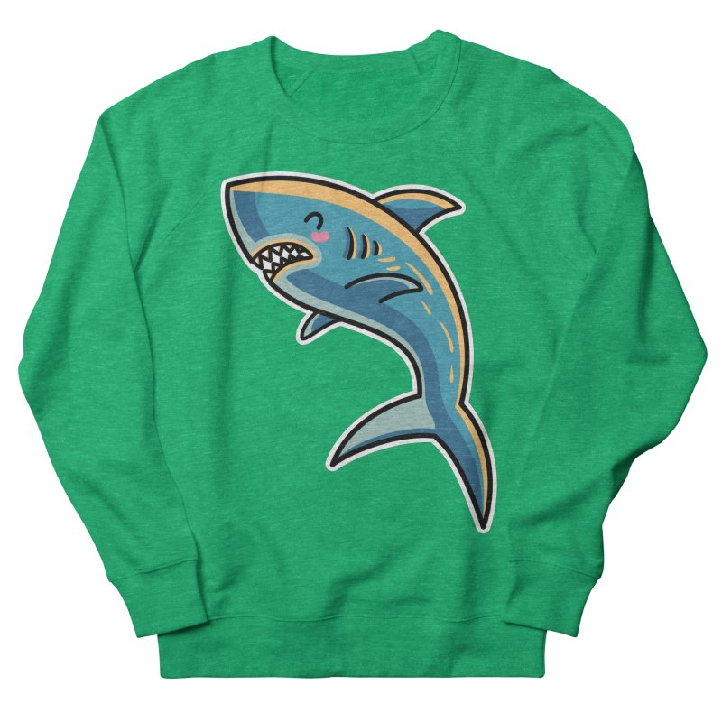 Kawaii Cute Shark Women's French Terry Sweatshirt by Flaming Imp's Artist Shop