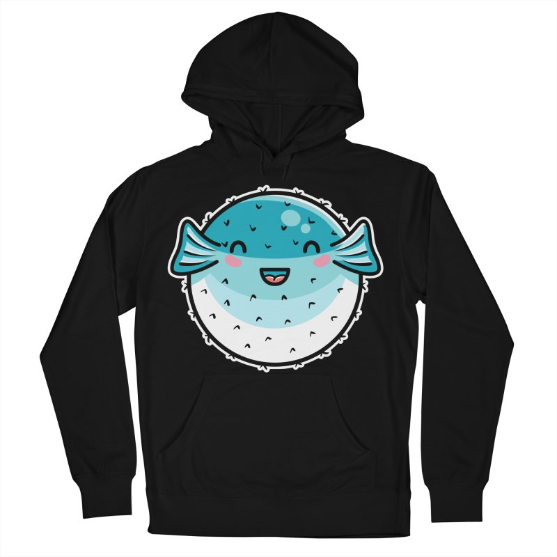 Kawaii Cute Puffer Fish Women's French Terry Pullover Hoody by Flaming Imp's Artist Shop
