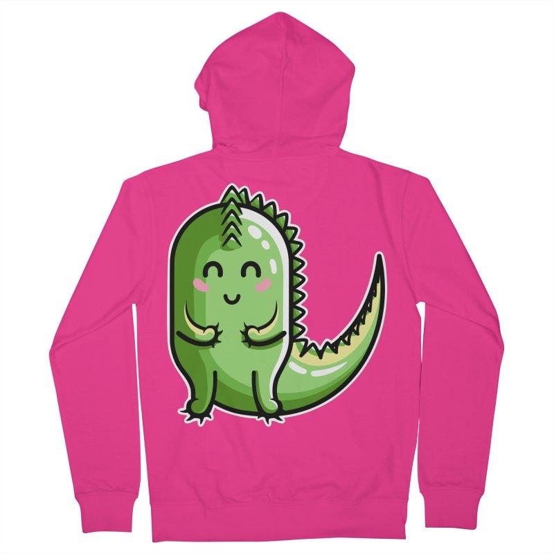 Kawaii Cute Dinosaur Men's French Terry Zip-Up Hoody by Flaming Imp's Artist Shop