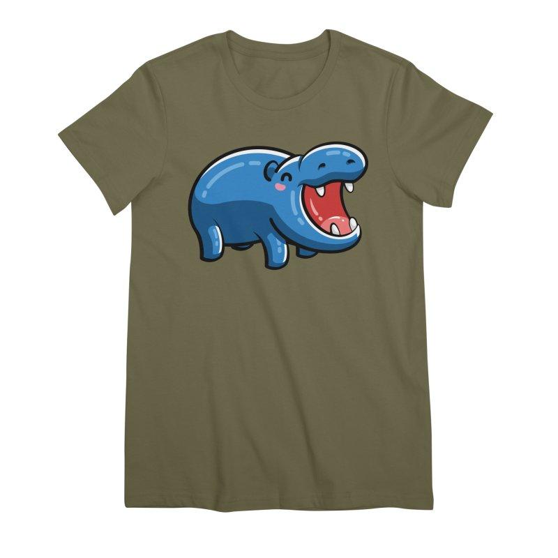 Cute Happy Hippo Women's Premium T-Shirt by Flaming Imp's Artist Shop