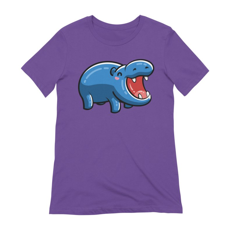 Cute Happy Hippo Women's Extra Soft T-Shirt by Flaming Imp's Artist Shop