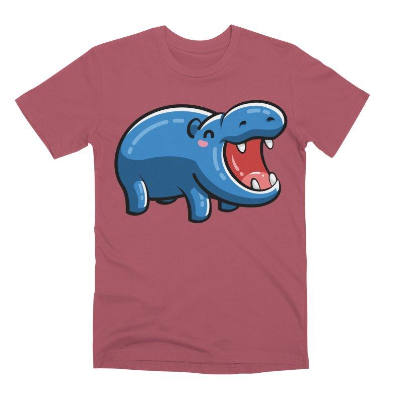 Cute Happy Hippo Men's Premium T-Shirt by Flaming Imp's Artist Shop