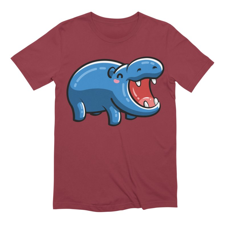 Cute Happy Hippo Men's Extra Soft T-Shirt by Flaming Imp's Artist Shop