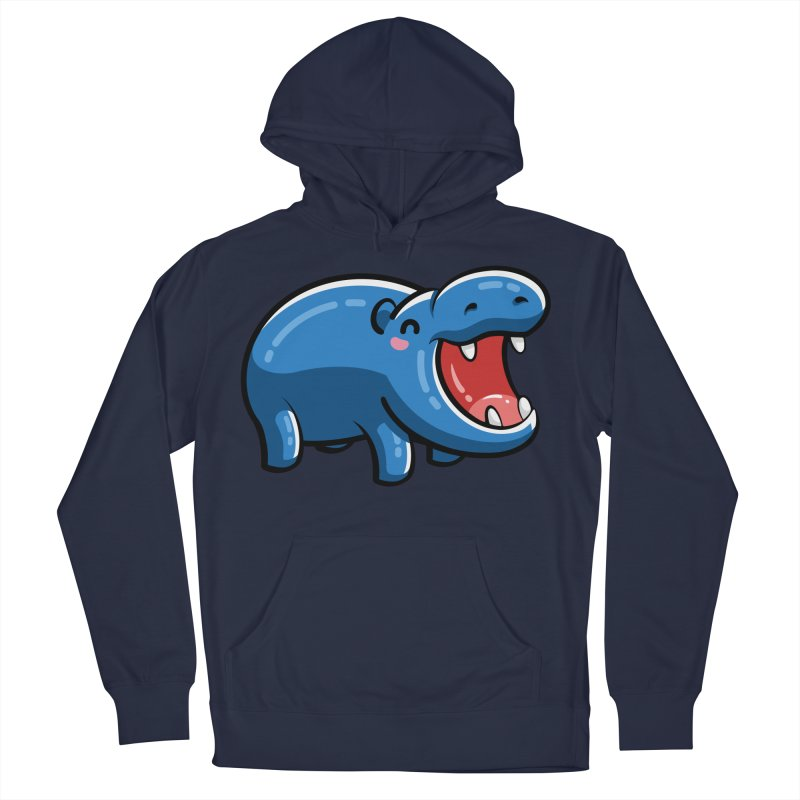 Cute Happy Hippo Women's French Terry Pullover Hoody by Flaming Imp's Artist Shop