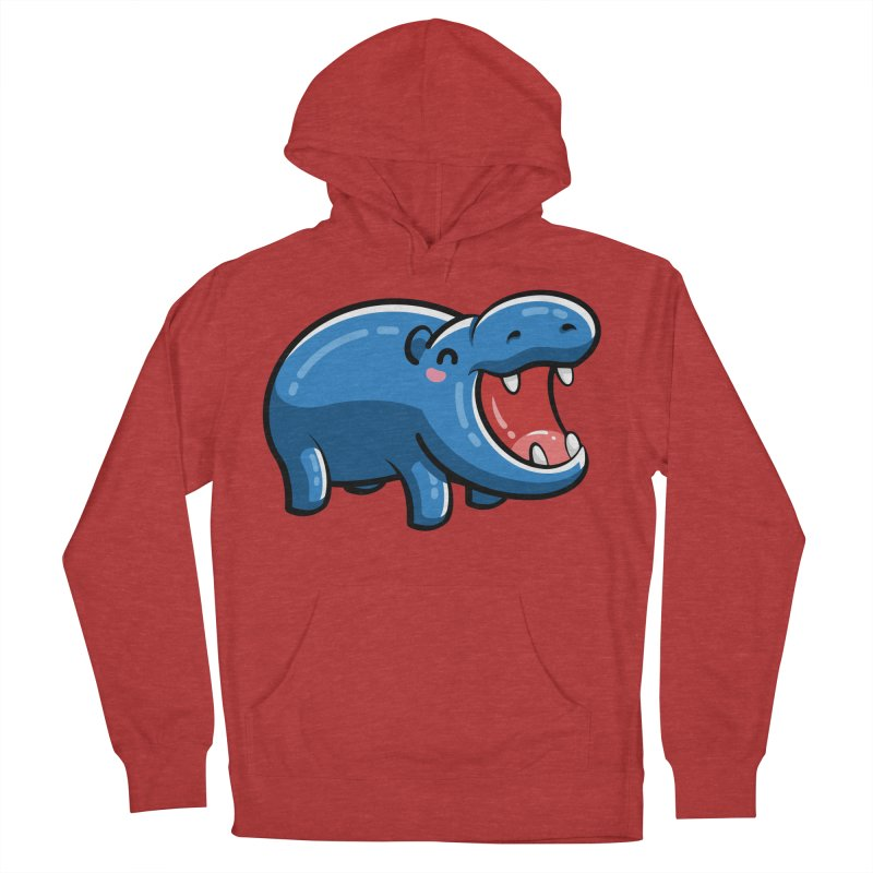 Cute Happy Hippo Men's French Terry Pullover Hoody by Flaming Imp's Artist Shop