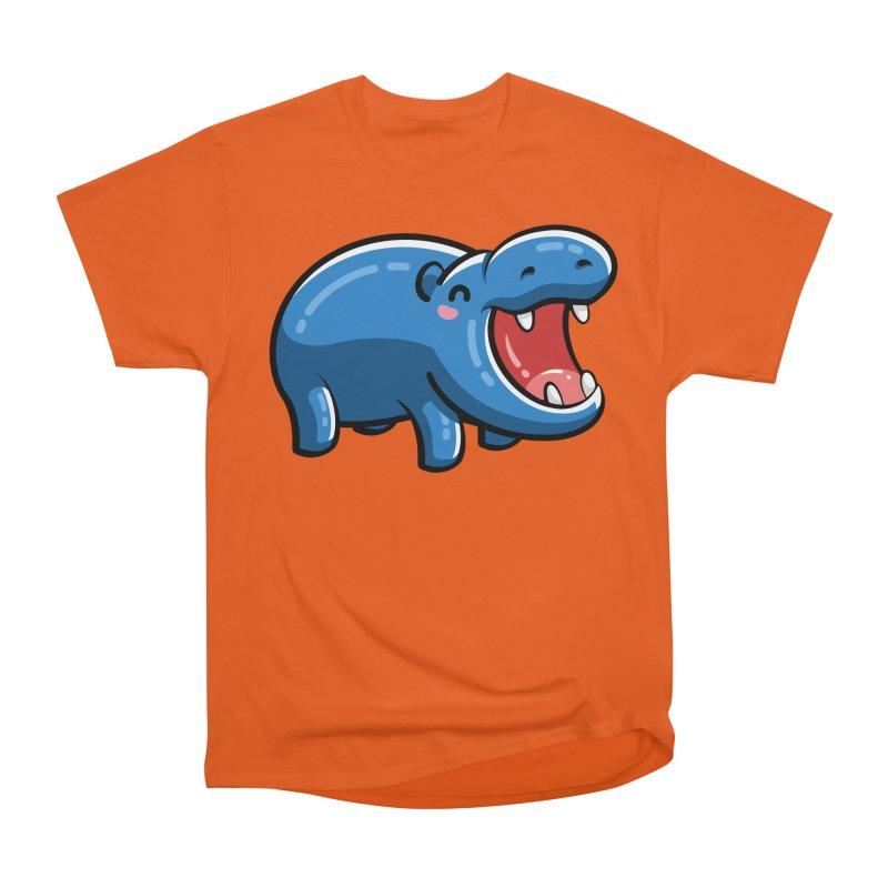 Cute Happy Hippo Men's Heavyweight T-Shirt by Flaming Imp's Artist Shop
