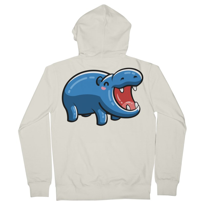 Cute Happy Hippo Women's French Terry Zip-Up Hoody by Flaming Imp's Artist Shop