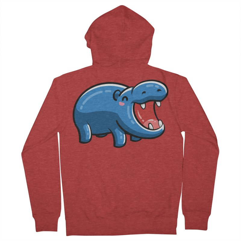 Cute Happy Hippo Men's French Terry Zip-Up Hoody by Flaming Imp's Artist Shop