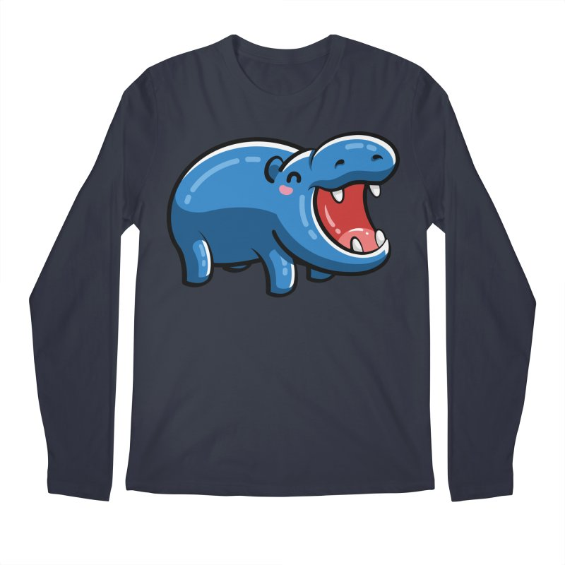 Cute Happy Hippo Men's Regular Longsleeve T-Shirt by Flaming Imp's Artist Shop