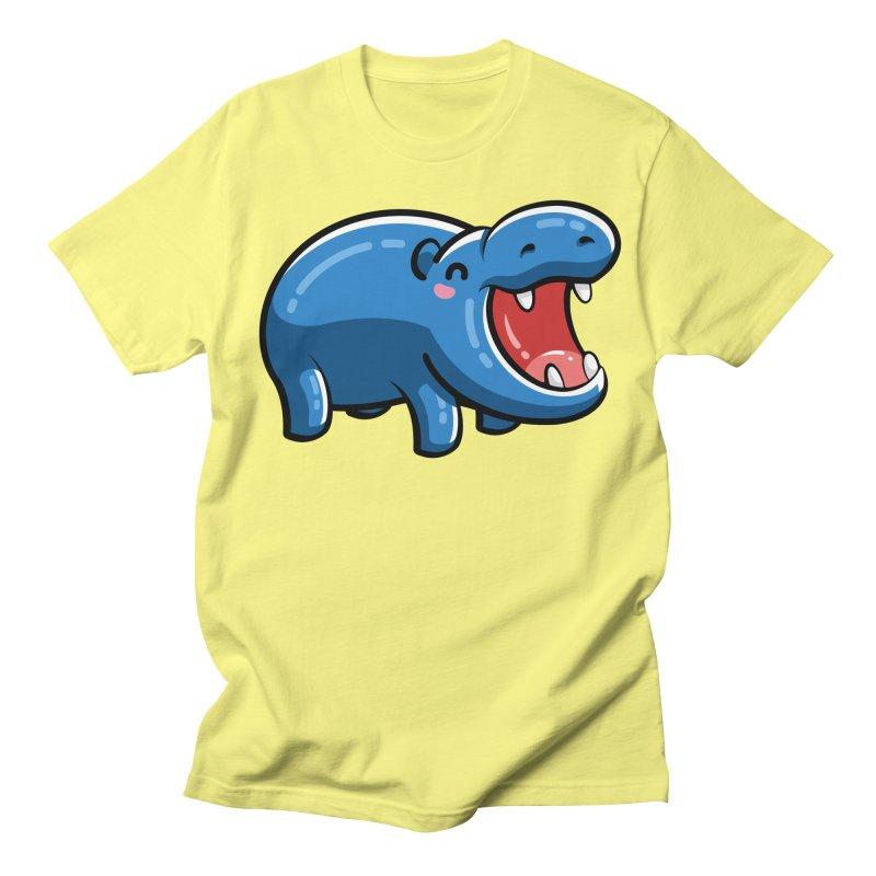 Cute Happy Hippo Women's Regular Unisex T-Shirt by Flaming Imp's Artist Shop
