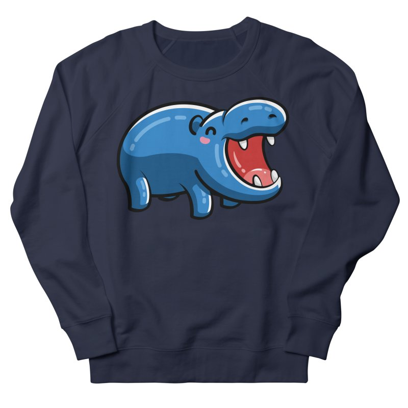 Cute Happy Hippo Women's French Terry Sweatshirt by Flaming Imp's Artist Shop