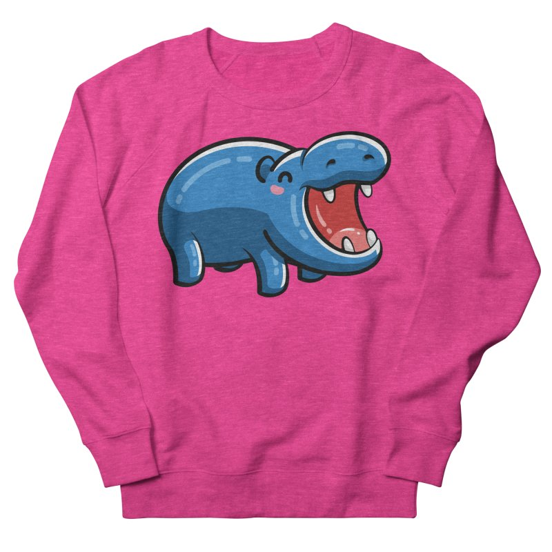 Cute Happy Hippo Men's French Terry Sweatshirt by Flaming Imp's Artist Shop