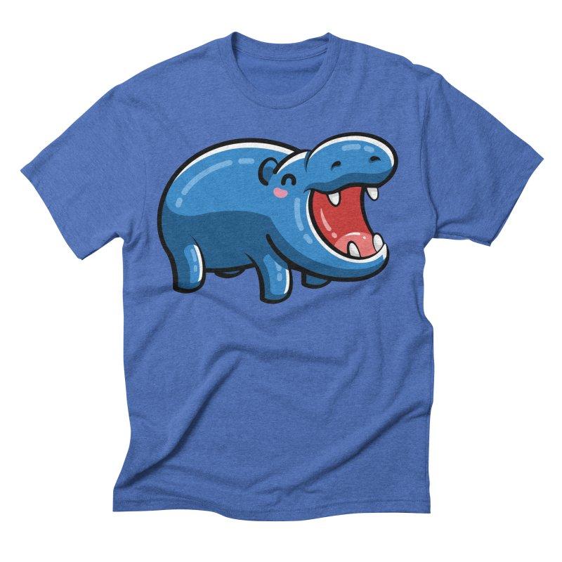 Cute Happy Hippo Men's Triblend T-Shirt by Flaming Imp's Artist Shop