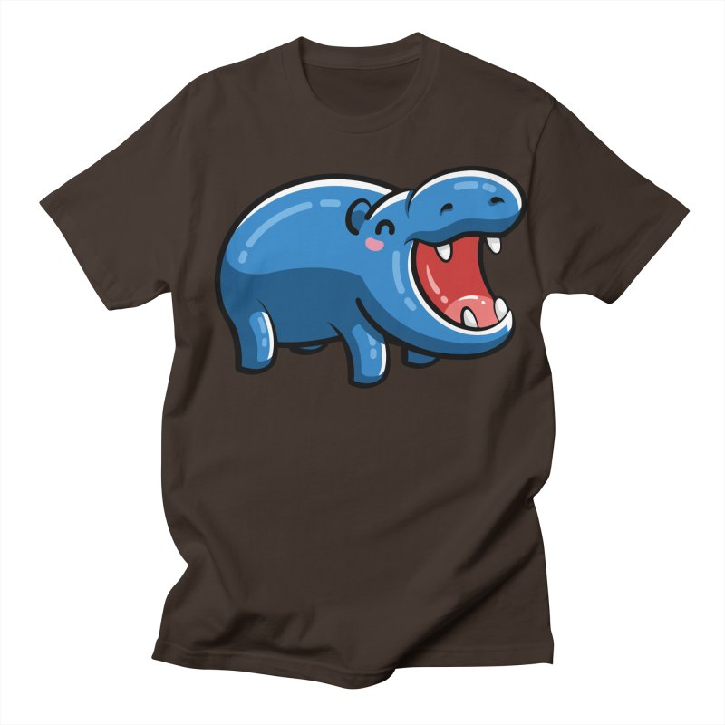 Cute Happy Hippo Men's Regular T-Shirt by Flaming Imp's Artist Shop